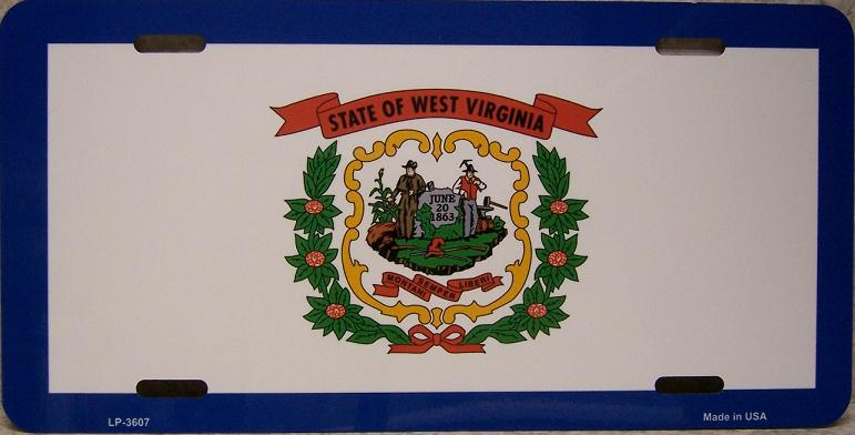 West Virginia State Flag Aluminum License Plate thumbnail