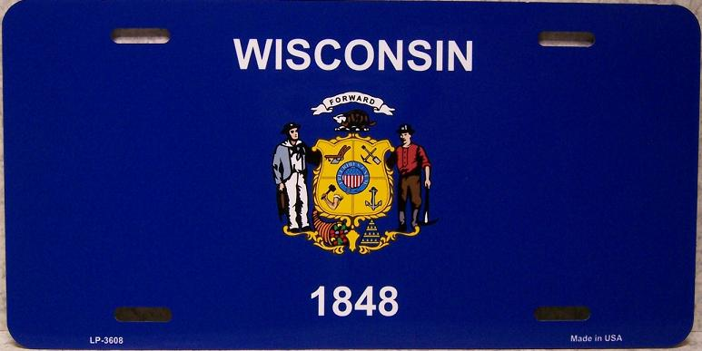 Wisconsin State Flag Aluminum License Plate thumbnail