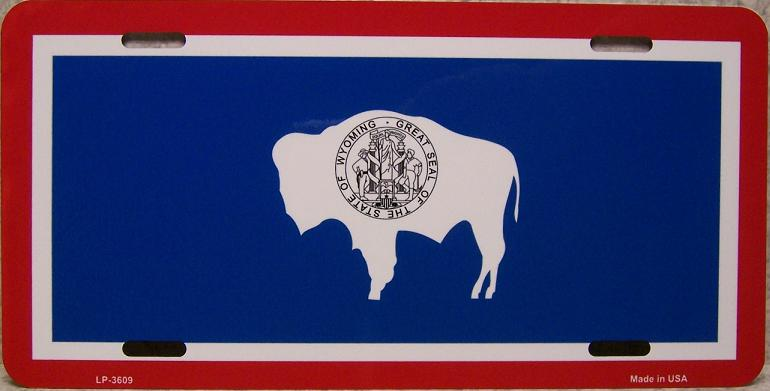 Wyoming State Flag Aluminum License Plate thumbnail