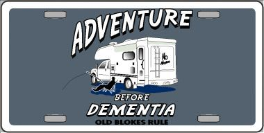Adventure before Dementia Aluminum License Plate thumbnail