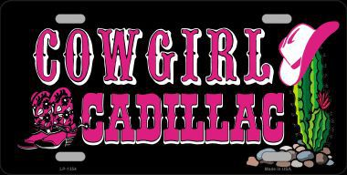 Cowgirl Cadillac Pivkup Truck Aluminum License Plate thumbnail