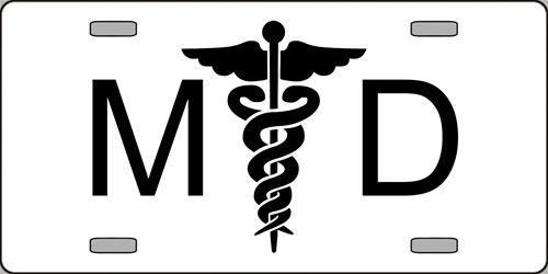 M D Doctor with Caduceus Aluminum License Plate America at Work thumbnail