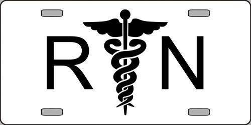 R N Registered Nurse with Caduceus Aluminum License Plate America at Work thumbnail