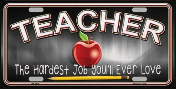 Teacher Aluminum License Plate America at Work thumbnail