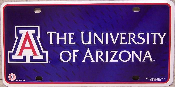 Arizona Wildcats NCAA Aluminum National Collegiate Athletic Association License Plate thumbnail
