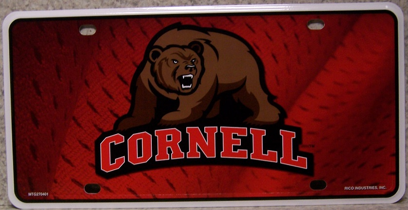 Cornell Big Red Bear NCAA Aluminum National Collegiate Athletic Association License Plate thumbnail