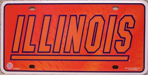 Illinois Fighting Illini NCAA Aluminum National Collegiate Athletic Association License Plate thumbnail