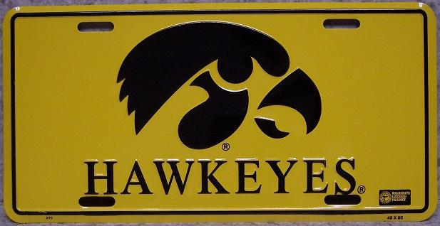 Iowa Hawkeyes NCAA Aluminum National Collegiate Athletic Association License Plate thumbnail