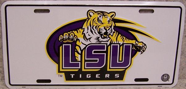 LSU Tigers NCAA Aluminum National Collegiate Athletic Association License Plate thumbnail