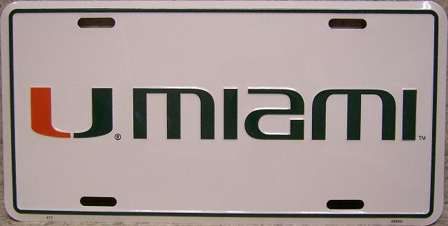 Miami Hurricanes NCAA Aluminum National Collegiate Athletic Association License Plate thumbnail