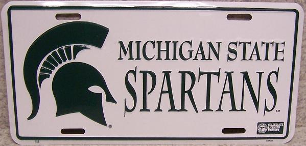 Michigan State Spartans NCAA Aluminum National Collegiate Athletic Association License Plate thumbnail