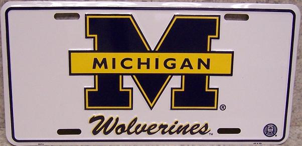 Michigan Wolverines NCAA Aluminum National Collegiate Athletic Association License Plate thumbnail