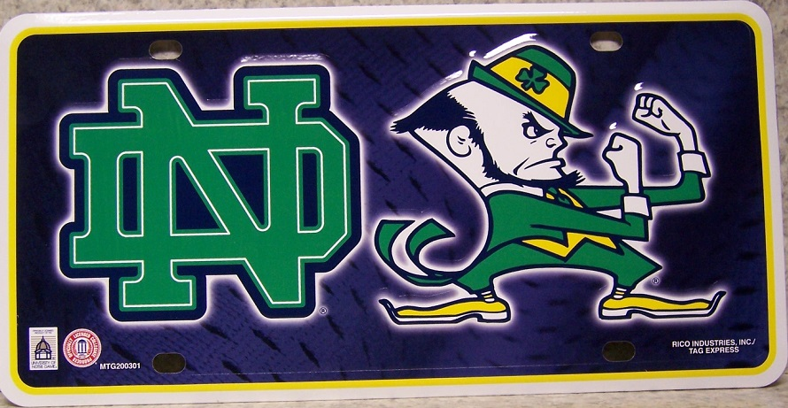 Notre Dame Fighting Irish NCAA Aluminum National Collegiate Athletic Association License Plate thumbnail