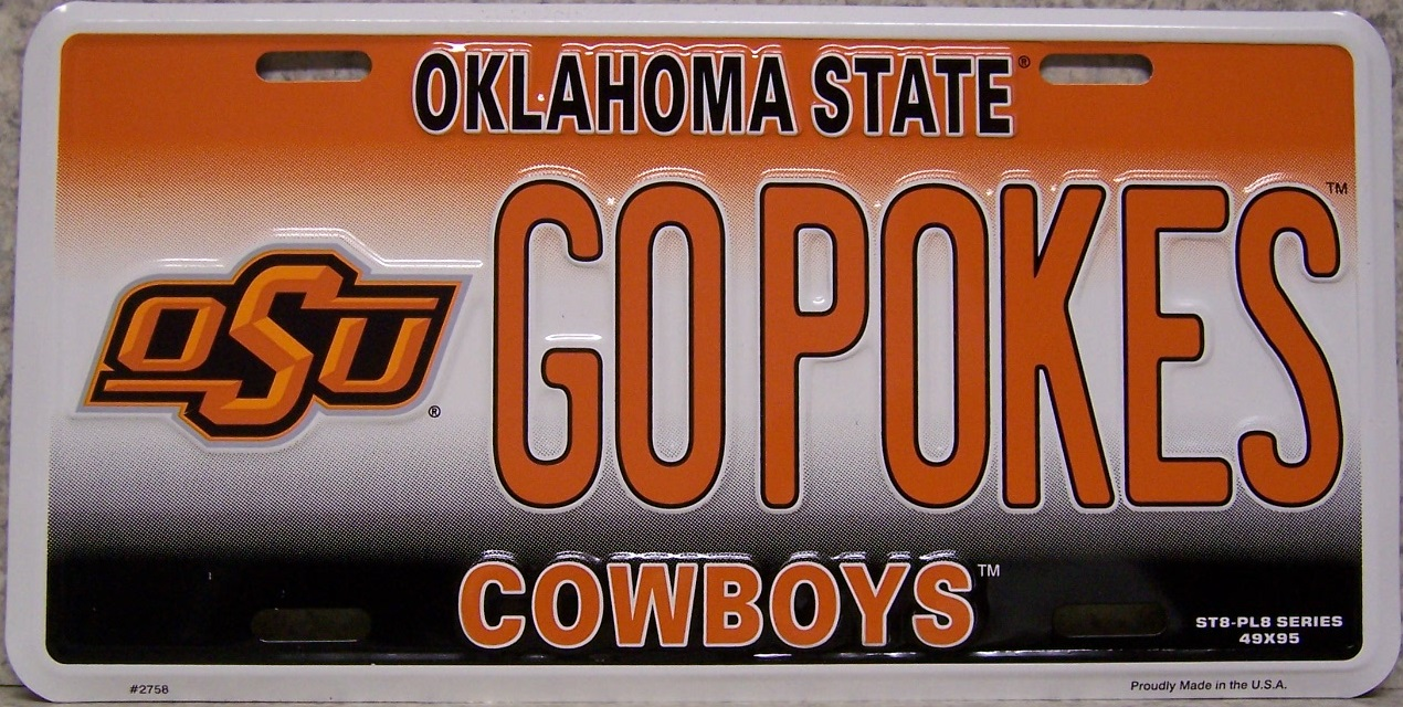 Oklahoma State Cowboys NCAA Aluminum National Collegiate Athletic Association License Plate thumbnail