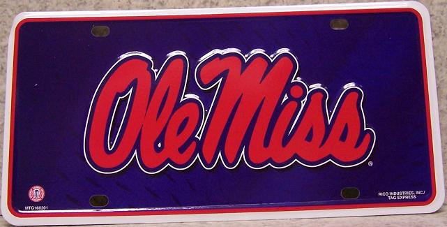 Mississippi Ole Miss NCAA Aluminum National Collegiate Athletic Association License Plate thumbnail