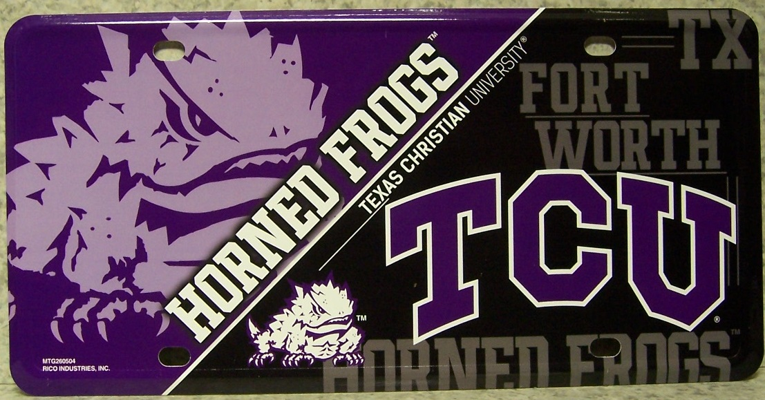 Texas Christian Horned Frogs NCAA Aluminum National Collegiate Athletic Association License Plate thumbnail