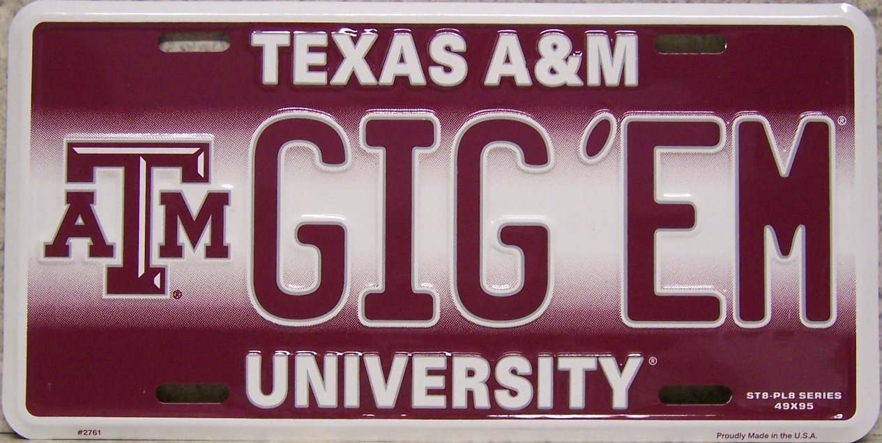 Texas Aand M Aggies NCAA Aluminum National Collegiate Athletic Association License Plate thumbnail