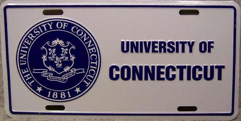 Connecticut Huskies NCAA Aluminum National Collegiate Athletic Association License Plate thumbnail