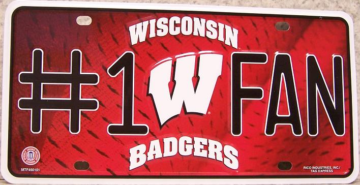 Wisconsin Badgers NCAA Aluminum National Collegiate Athletic Association License Plate thumbnail