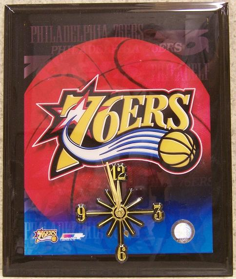 Philadelphia 76ers National Basketball Association battery operated NBA wall clock