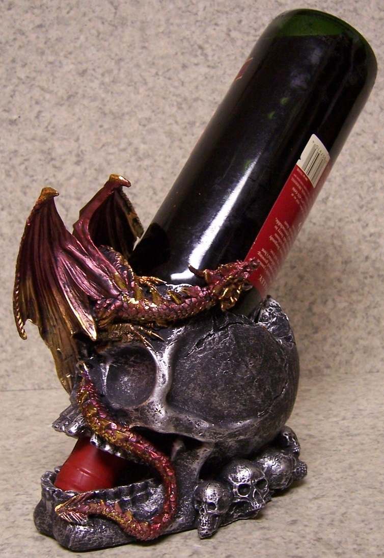 Dragon and Skull Wine Bottle Holder thumbnail