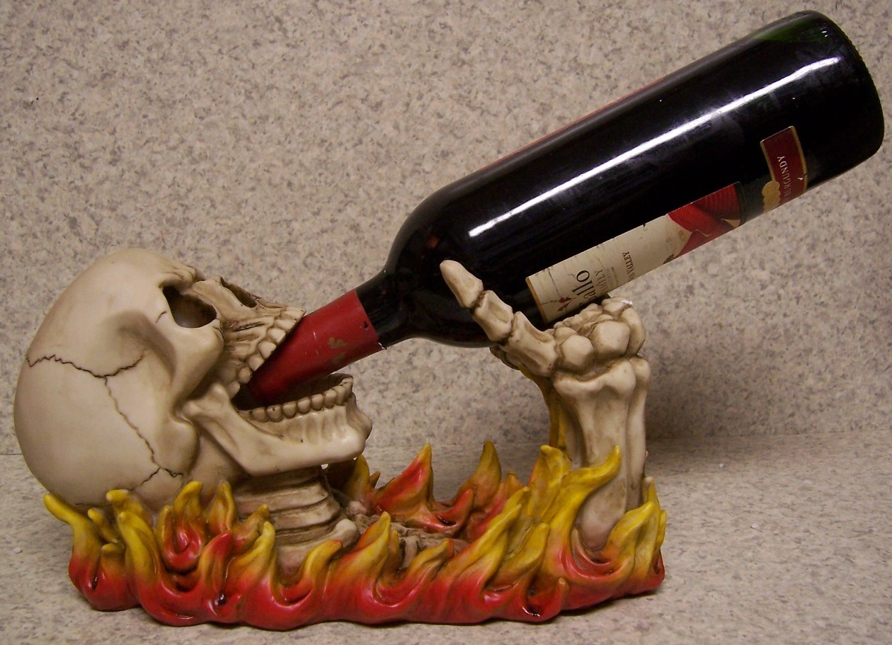 Fiery Skull Wine Bottle Holder thumbnail