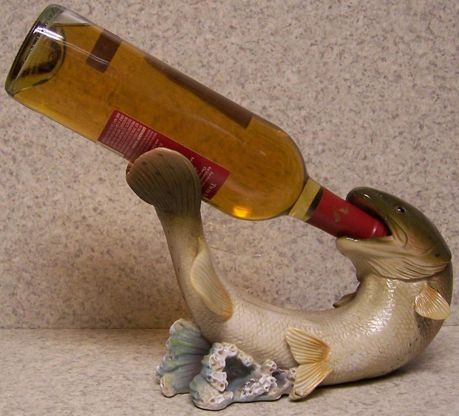 Wine bottle holder and or decorative sculpture trout fish for Wine with fish