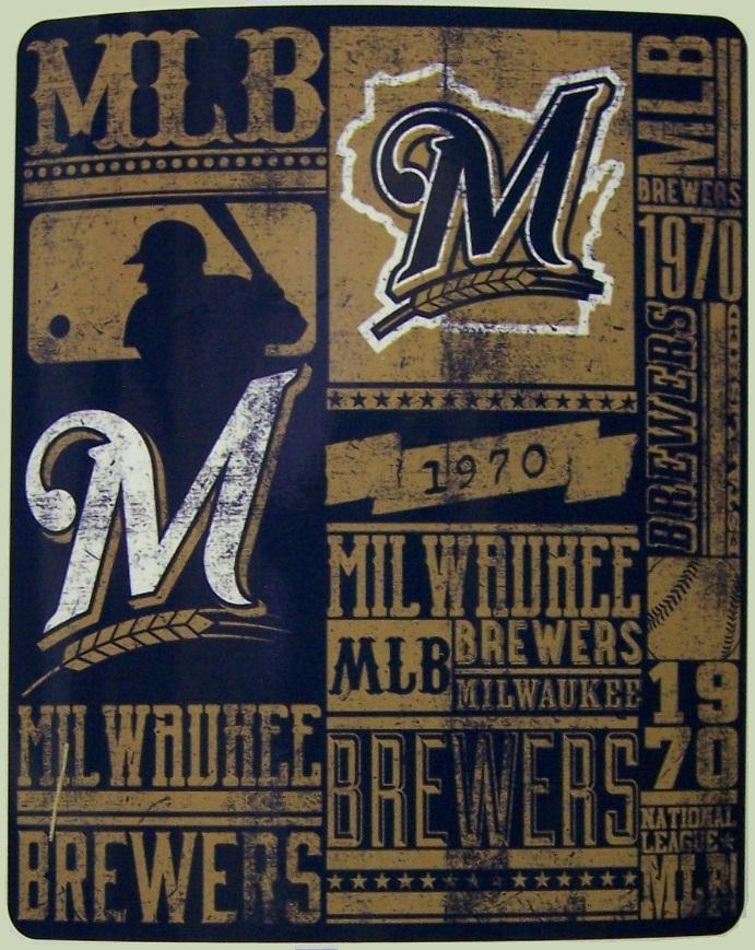 Milwaukee Brewers Bedroom In A Box Major League Baseball: Milwaukee Brewers MLB Fleece Twin Sized Blanket Major