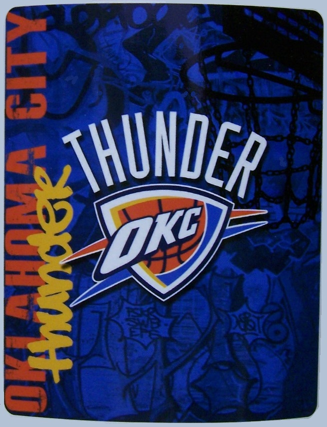 Oklahoma City Thunder NBA blanket National Basketball Association 50 by 60 inches 100 percent fleece polyester