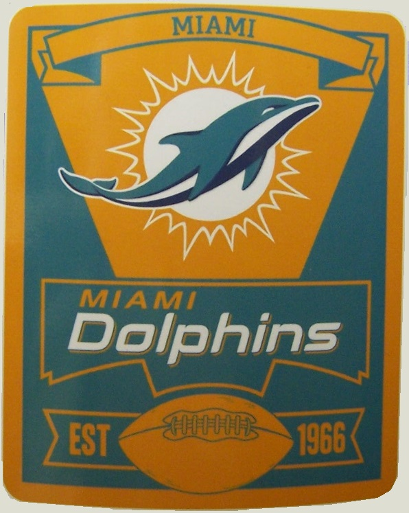 Miami Dolphins NFL blanket National Football League 50 by 60 inches 100 percent fleece polyester