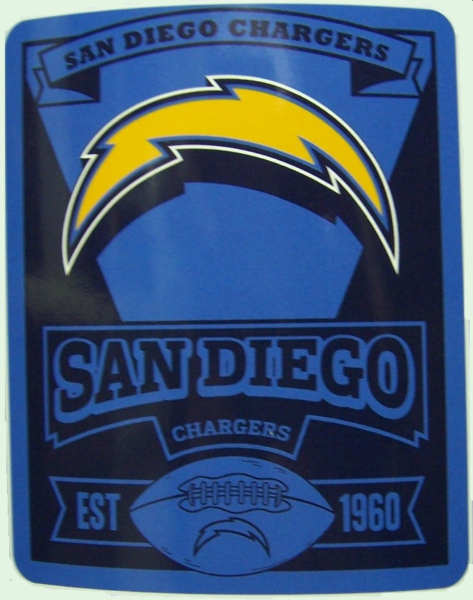 San Diego Chargers NFL blanket National Football League 50 by 60 inches 100 percent fleece polyester