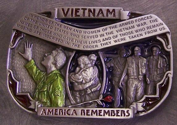 Military Belt Buckle metal Vietnam Vet Memorial Wall N eBay