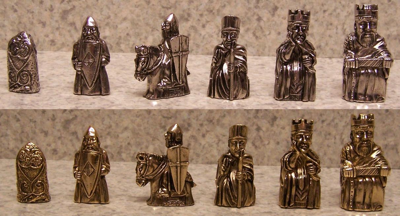 Chess set pieces pewter isle of lewis nib ebay - Lewis chessmen set ...