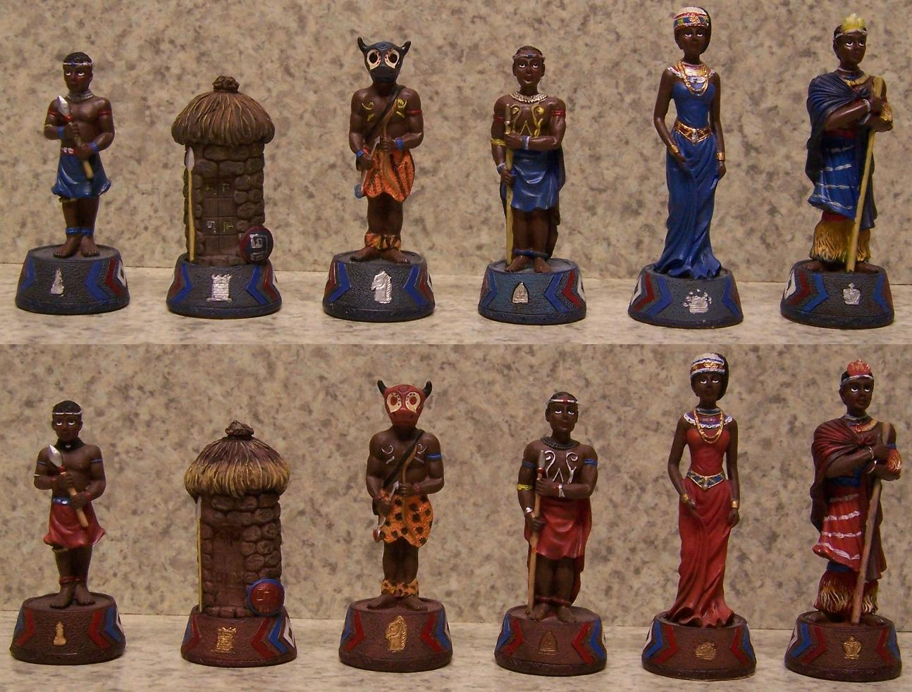 Chess set pieces african massai warriors nib ebay - The chessmen chess set ...