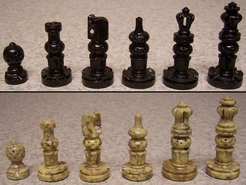 Chess set wood storage box board india maharaja hand carved solid marble new ebay - Granite chess pieces ...