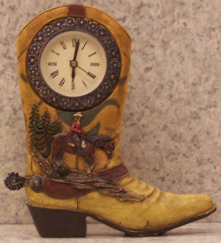 http://www.lionheart-designs.com/inventory/clocks/rustic%20cabin/Boot%20Clock%2011746A.JPG