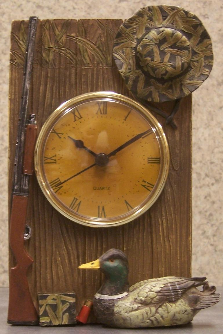 Clock Duck Hunting Rifle Table Shelf Mantel Table Nib Ebay