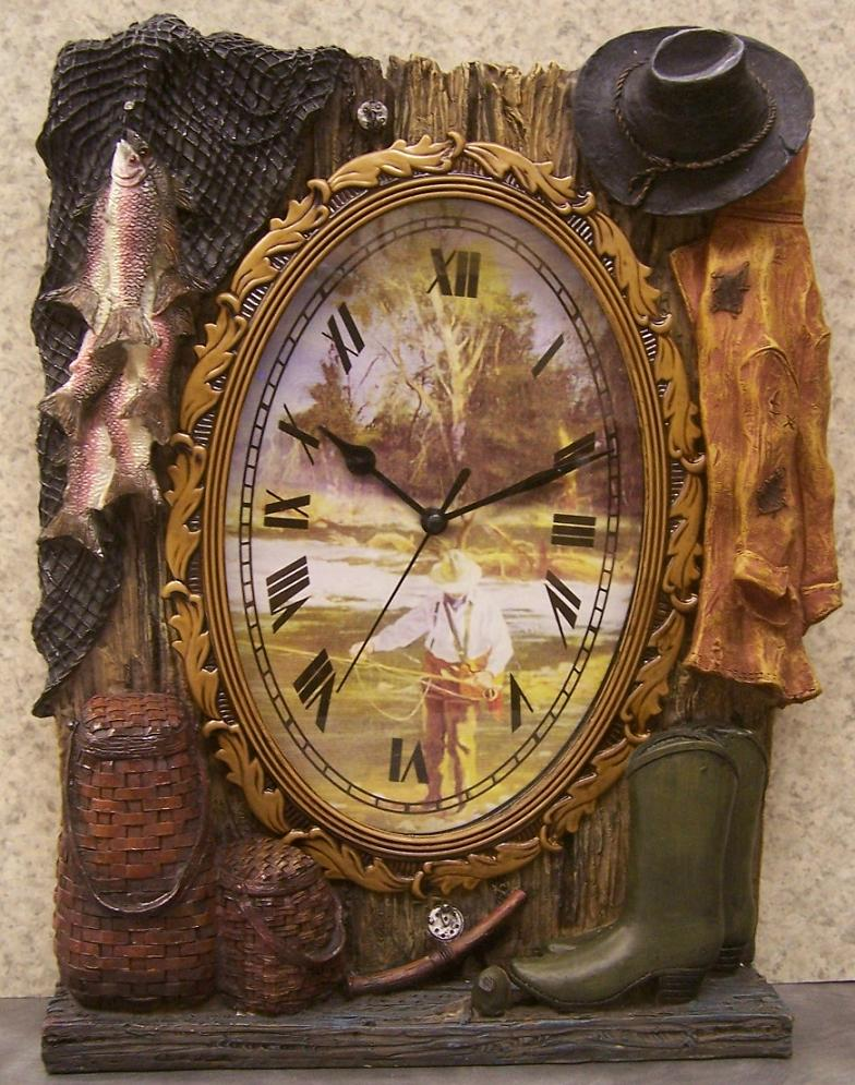 A Day Spent Fishing shelf or mantle clock thumbnail