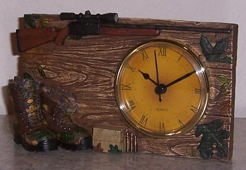 Hunting Rifle and Boots shelf or mantle clock thumbnail