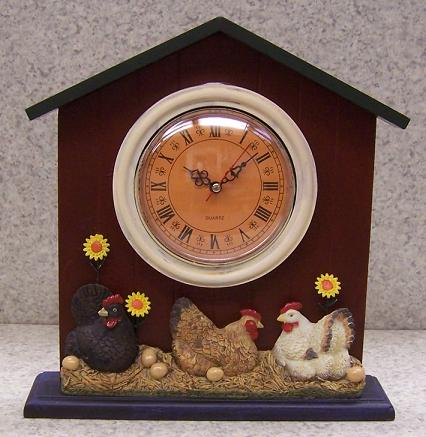 Barnyard Chickens shelf or mantle clock thumbnail