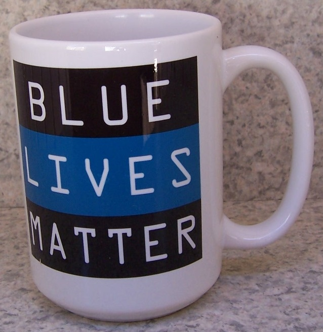 Blue Lives Matter Fire, Police and Rescue coffee mug thumbnail