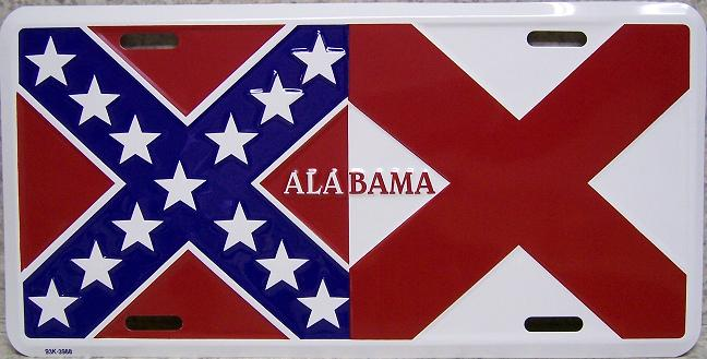 Alabama State Flag Aluminum License Plate Confederate States of America thumbnail