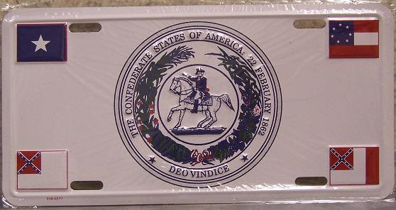 Confederate States National Emblem Aluminum License Plate Confederate States of America thumbnail