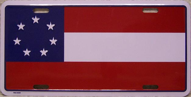 First National Flag 7 Stars Aluminum License Plate Confederate States of America thumbnail