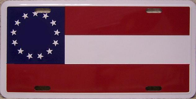 First National Flag 13 Stars Aluminum License Plate Confederate States of America thumbnail
