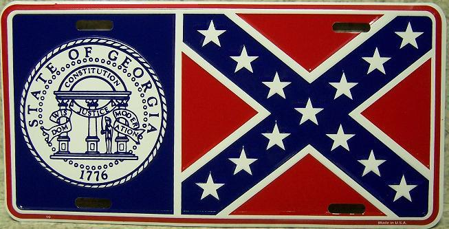 Georgia State Flag Aluminum License Plate Confederate States of America thumbnail