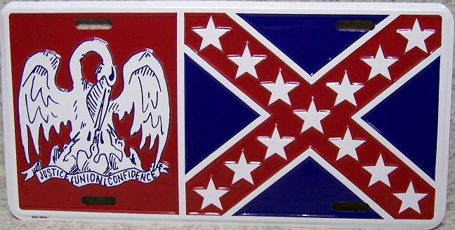 Louisiana State Flag Aluminum License Plate Confederate States of America thumbnail