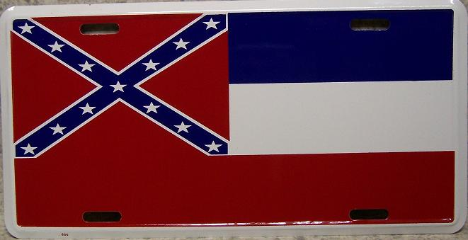 Mississippi State Flag Aluminum License Plate Confederate States of America thumbnail