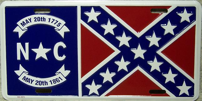 North Carolina State Flag Aluminum License Plate Confederate States of America thumbnail