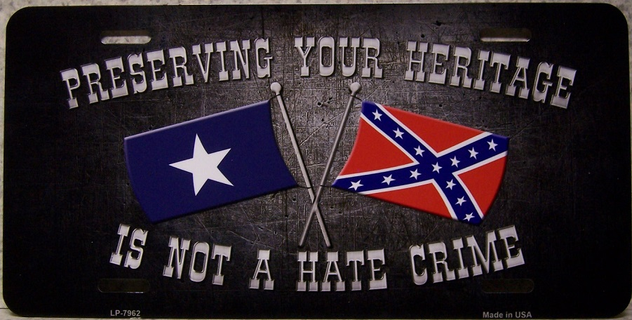 Preserving Your Heritage is not a Hate Crime Aluminum License Plate Confederate States of America thumbnail